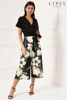 8cdd253d053 Black Floral Lipsy Wrap Culotte Jumpsuit ...