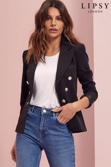Lipsy Black Military Tailored Button Blazer