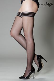 Pour Moi Black Strapped - 15 Denier Hold Ups
