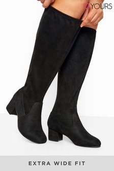 Yours Curve Stretch Faux Suede Knee High Boots In Extra Wide Fit