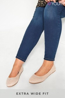 Yours Nude Curve Diamante Embellished Ballerina Pumps In Extra Wide Fit