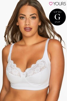 Yours White Curve Non-Wired Cotton Bra With Lace Trim - Best Seller F+