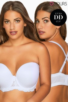 Yours White Curve Multiway Microfibre Lace Bra With Removable Straps