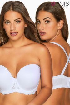 Yours White Curve Multiway Microfibre Lace Bra With Removable Straps DD+