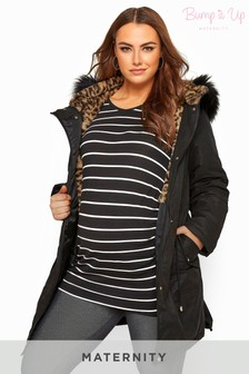 Bump It Up Maternity Animal Print Faux Fur Parka Coat