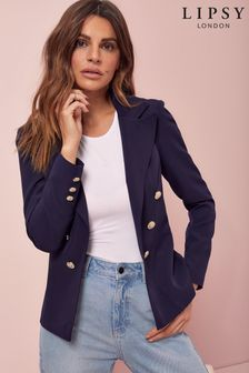 Lipsy Navy Military Tailored Button Blazer