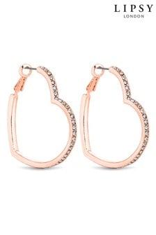 Lipsy Jewellery Gold Crystal Heart Hoop Earrings