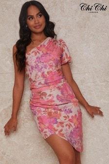 Chi Chi London Pink One Shoulder Floral Print Top