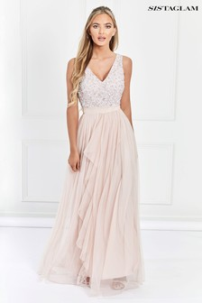 1ffe7177e7b Nude Sistaglam V neck Maxi Dress With Sequined Top ...
