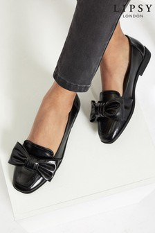 Lipsy Black Square Toe Bow Loafer