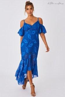 Little Mistress Blue Lela Cerulean Textured Leaf Cold Shoulder Maxi Dress