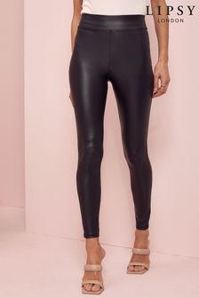 Lipsy Black Regular High Waist Leather Look Legging