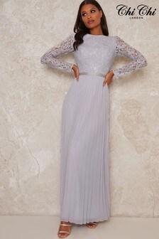 Chi Chi London Green Kaylie Pleated Maxi Dress