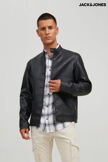 Jack & Jones Black Faux Leather Biker Jacket