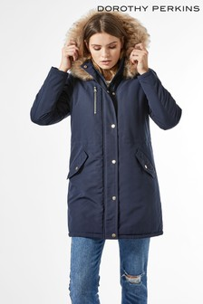 Dorothy Perkins Navy Luxe Faux Fur Trim Parka Coat