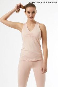 Dorothy Perkins Pink Ruch Front Yoga Vest