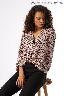 Dorothy Perkins Pink Animal Roll Sleeve Shirt