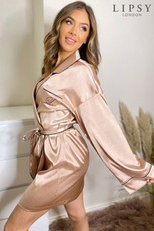Lipsy Neutral Satin Shirt Robe