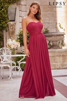 Lipsy Red Bella Multiway Bandeau Bridesmaid Dress