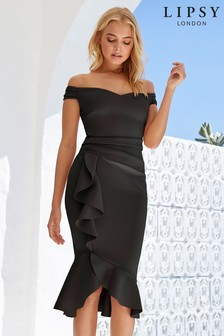 e4ab9c6aeac Lipsy Satin Panel Bardot Flute Hem Bodycon Dress