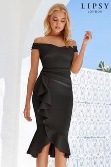 16191244e1 Lipsy Satin Panel Bardot Flute Hem Bodycon Dress
