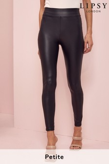 Lipsy Black Petite High Waist Leather Look Legging