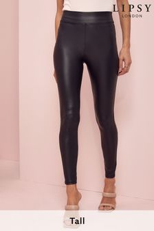 Lipsy Black Tall High Waist Leather Look Legging