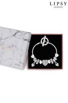 Lipsy Jewellery Silver Pave Crystal Heart Charm Bracelet