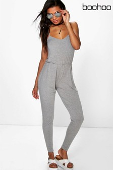 Boohoo Grey Strappy Jersey Jumpsuit