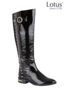 Lotus Footwear Black Knee Length Comfort Boots