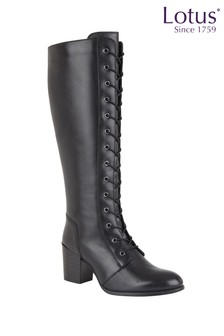Lotus Footwear Black Knee Length Casual Boots