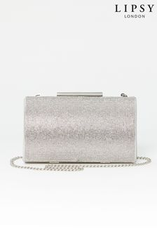 Lipsy Silver Diamante Clutch Bag