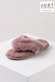 Just Sheepskin Pink Ladies Rose Sheepskin Sliders