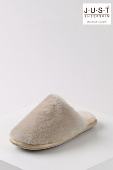 Just Sheepskin Cloud with Beige Ladies Wooly Sheepskin Slippers