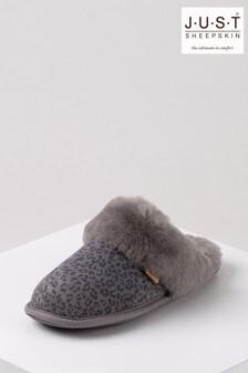 Just Sheepskin Grey Leopard Print Ladies Duchess Sheepskin Slippers