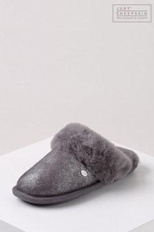 Just Sheepskin Grey Metallic Ladies Duchess Sheepskin Slippers