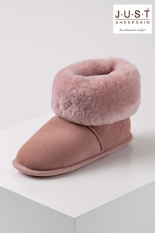 Just Sheepskin Pink Ladies Albery Sheepskin Slippers