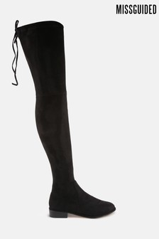 Missguided Black Faux Suede Flat Over The Knee Boots