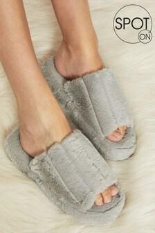 Spot On Grey Faux Fur Mule Slipper