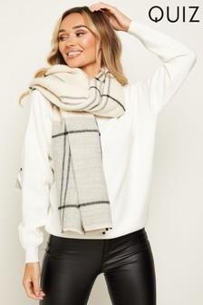 Quiz Cream and Grey Check Knit Scarf