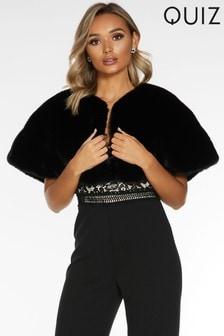 Quiz Black Faux Fur Wrap Cape