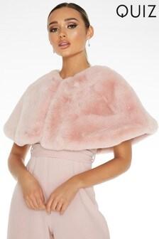Quiz Pink Faux Fur Wrap Cape