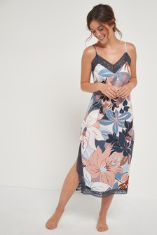 Floral Printed Soft Lace Slip