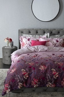100% Cotton Sateen Ombre Plum Floral Duvet Cover and Pillowcase Set
