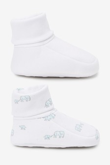 White 2 Pack Cotton Rich Booties (0-18mths)
