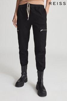 Reiss Black Tyler Casual Cuffed Cargo Trousers