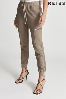 Reiss Brown Tyler Casual Cuffed Cargo Trousers