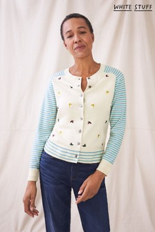 White Stuff Natural Hawthorn Embroidered Cardi