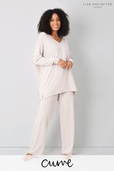 Live Unlimited Curve Oatmeal Wide Leg Loungwear Trousers