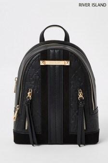 River Island Black Panelled Backpack